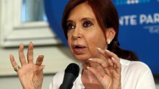 L'ex-présidente argentine Cristina Fernandez de Kirchner, lors d'une conférence de presse à Buenos Aires, le 7 décembre 2017.