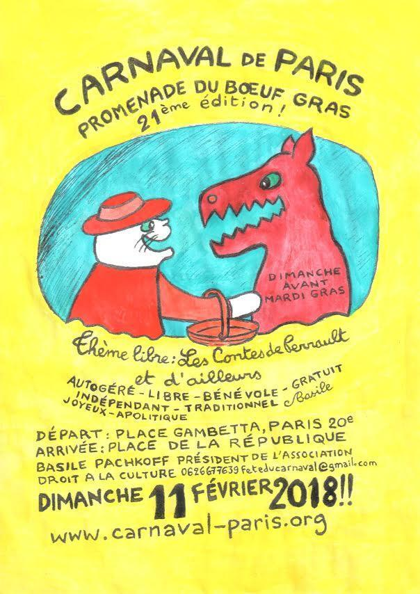 Cartaz do Carnaval de Paris 2018.