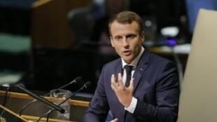 Le président français Emmanuel Macron s'adresse à la 72e Assemblée générale des Nations unies à New York, le 19 septembre 2017.