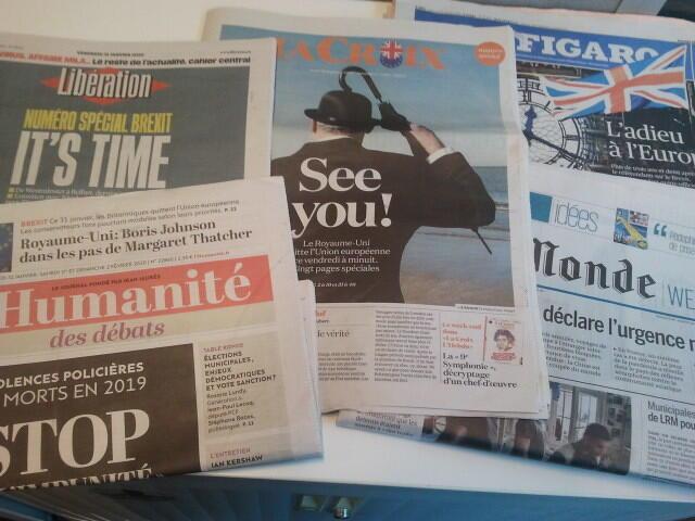 Primeiras páginas dos jornais franceses 31 de janeiro de 2020