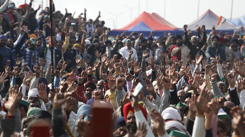 法广存档图片:印度农民在首都新德里郊区示威 摄于 2021年1月30日周六 Image d'archive RFI : Les paysans indiens ont manifesté en nombre dans la banlieue de New Delhi le 30 janvier 2021.