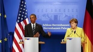 O  Presidente  Barack Obama e a Chanceler Angela Merkel,durante a conferência de imprensa  em Hanover.   24 de Abril de  2016.