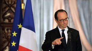 President François Hollande at a press conference in Baghdad before flying to Arbil Friday