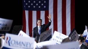 Mitt Romney acknowledges supporters at his Nevada caucus night rally in Las Vegas, Nevada,  4 February, 2012