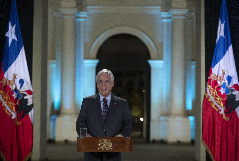 Le président chilien Sebastian Piñera lors de son discours à la nation, le 17 novembre 2019.