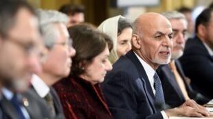 Le président afghan, Ashraf Ghani, s'exprime à la conférence internationale sur l'Afghanistan, le 28 novembre 2018.