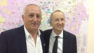 Jean-Marc Lavest, recteur de l'Université d'Erevan ; Martin Becker, directeur de l'Ecole française Anatole France d'Erevan.