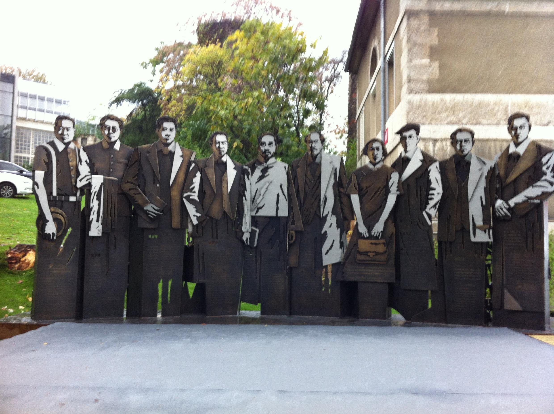 蔡元培等十名首批留法學生巨型雕像  2014年11月5日里昂新中法大學