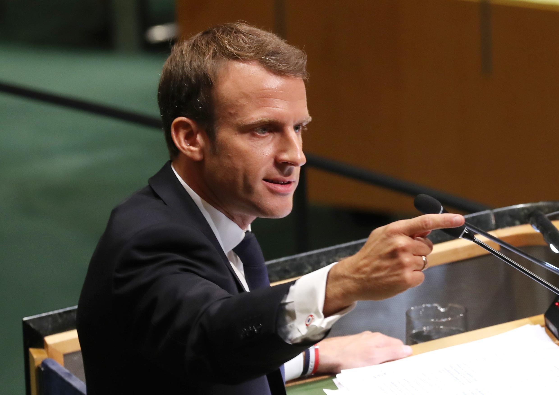 Tổng thống Pháp Emmanuel Macron phát biểu tại Đại Hội Đồng Liên Hiệp Quốc, New York, ngày 25/09/2018.