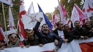 Манифестация против политики России в отношении Украины и Грузии. Тбилиси 15/11/2014 (архив)
