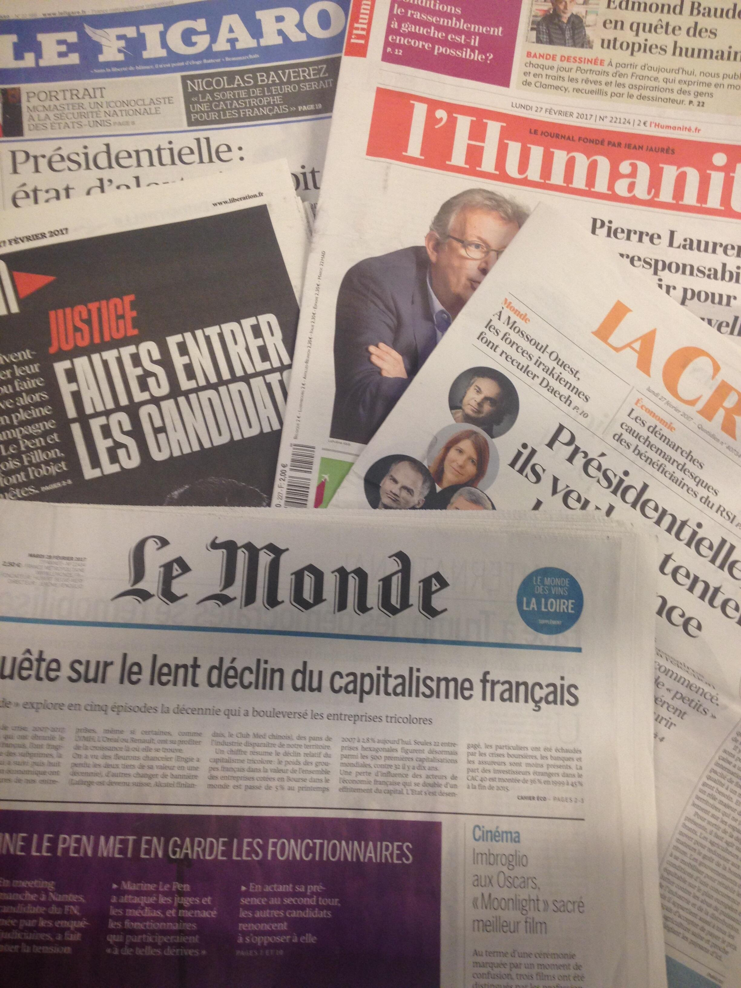 Capas dos diários franceses 27/02/2017