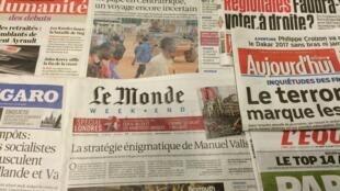 Primeira páginas dos diários franceses de 13/11/2015