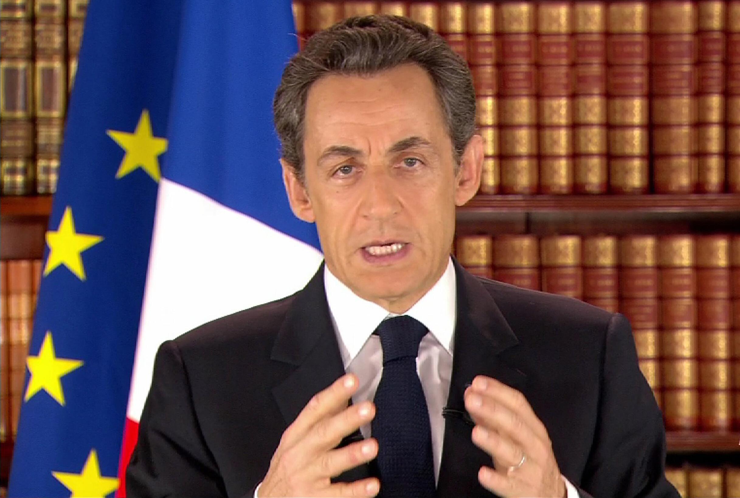 El presidente Nicolas Sarkozy durante una intervención televisada en febrero pasado