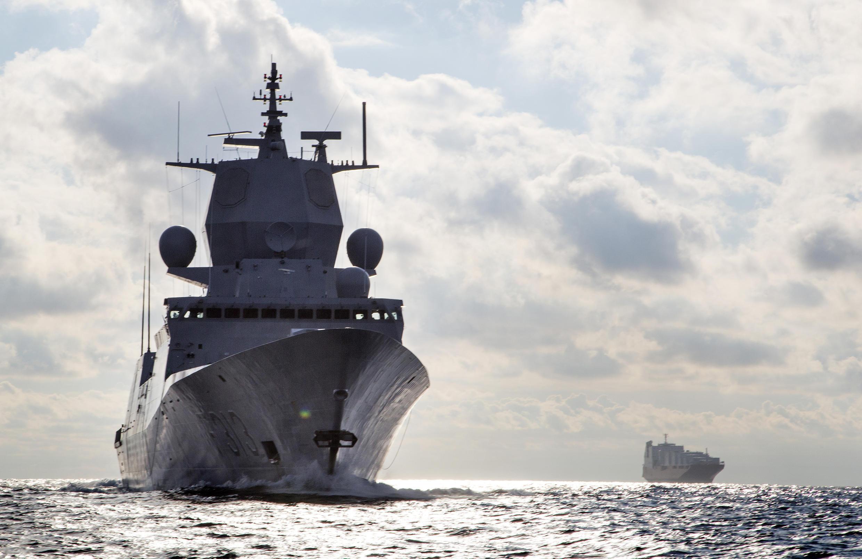 La frégate norvégienne «Helge Instad» est l'un des navires chargés d'escorter les premiers chargements d'armes chimiques syriennes.