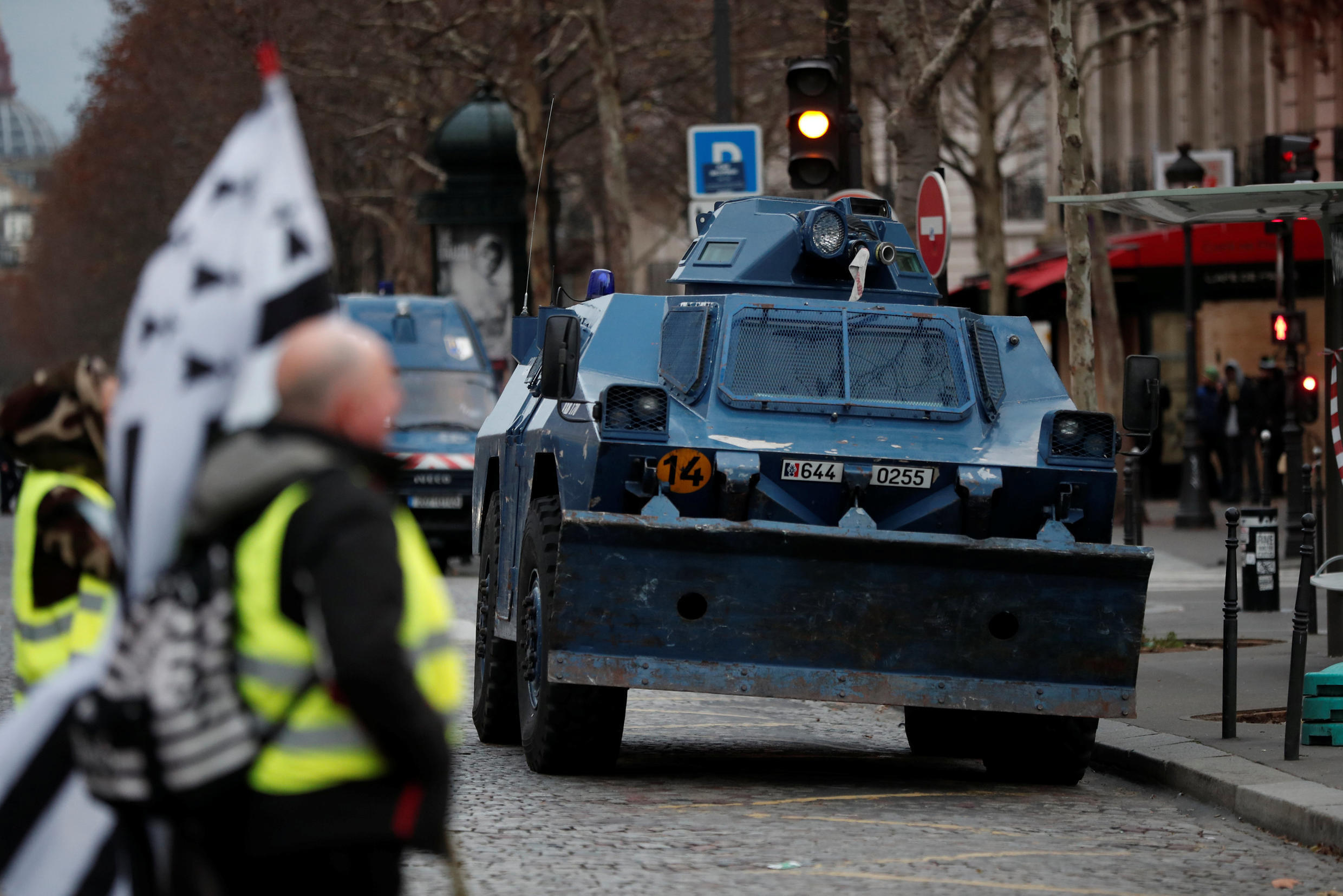 Armoured car on standby in Paris
