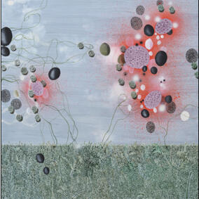 """Abderrahim Yamou, né en 1959 à Casablanca au Maroc : """"Amas rouge"""" (2011). Huile sur toile, 200x200 cm."""