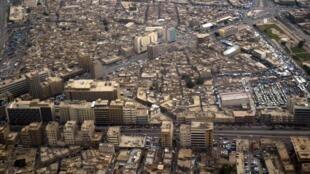Vue aérienne du quartier de la place al-Tarayan, à Bagdad.