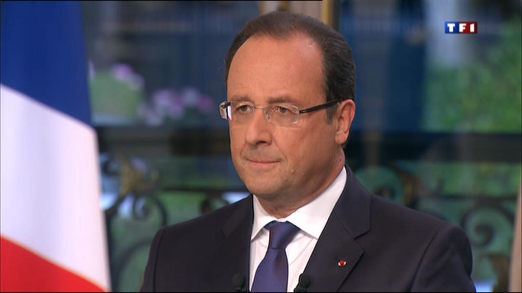O presidente francês, François Hollande, durante entrevista no jornal do canal TF1 em 15/09/13.