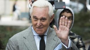Roger Stone lors de son arrivée au tribunal de Washington le 7 novembre 2019.