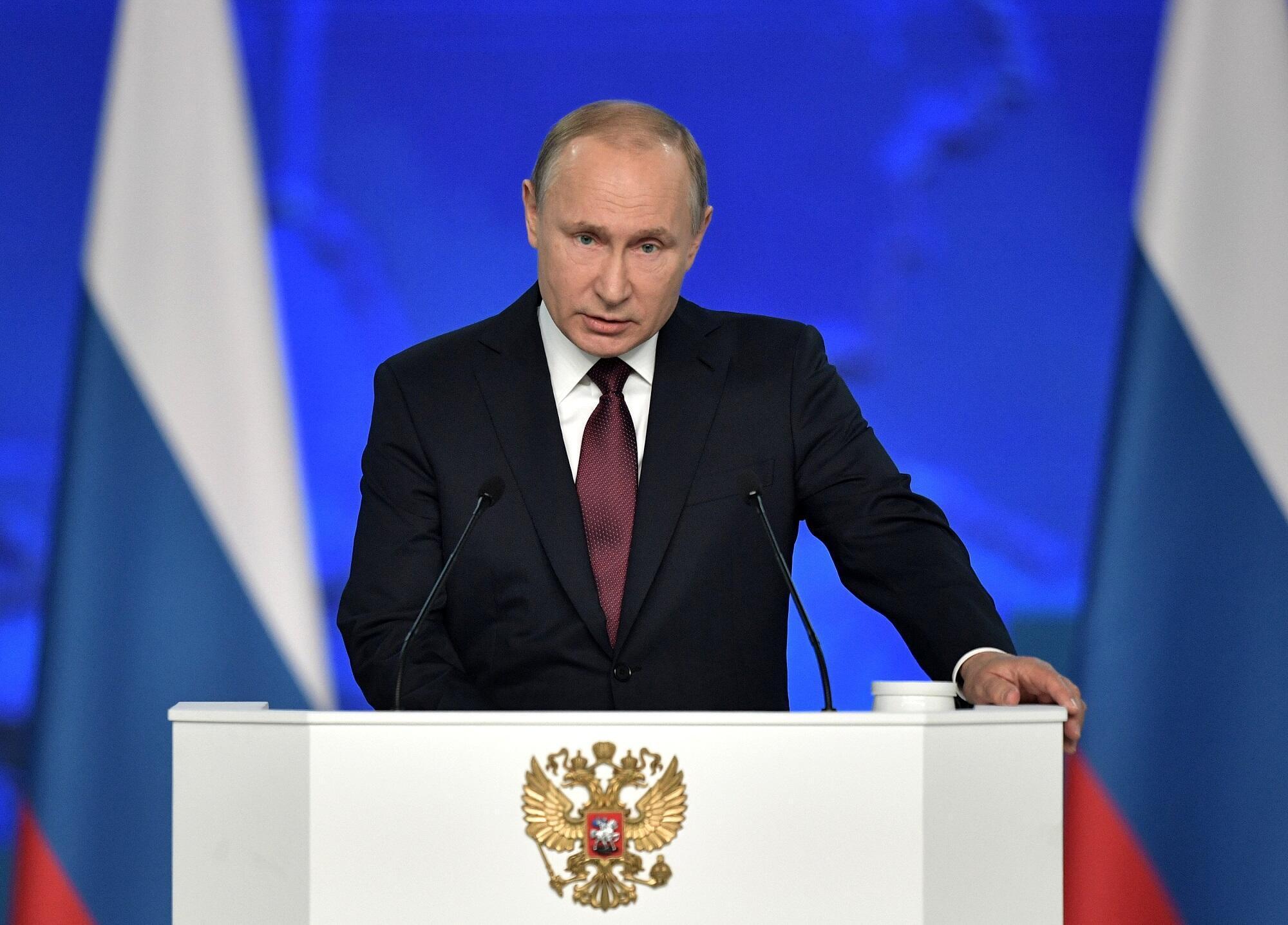 Tổng thống Nga Vladimir Putin phát biểu trước Nghị Viện Nga tại Mátxcơva ngày 20/02/2019.