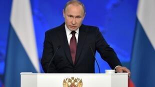 Vladimir Putin ante el Parlamento en Moscú, este 20 de febrero de 2019.