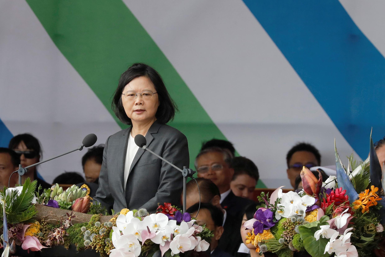 台湾总统蔡英文发表双十节国庆演讲,2017年10月10日。