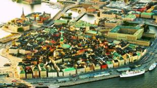 图为网传瑞典斯德哥尔摩市中心地图