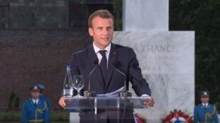 Выступление президента Макрона у памятника «Благодарность Франции» в Белграде 15 июля 2019