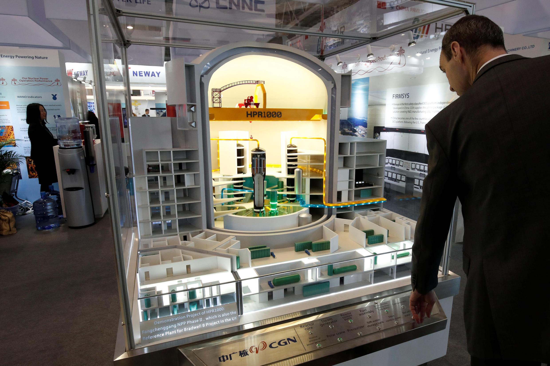 中廣核集團在巴黎展出的中國第三代核反應堆模型,2018年6月26日。