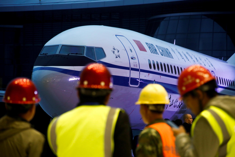 Cérémonie de remise d'un Boeing 737 MAX 8, à l'usine Boeing de Zhoushan, le 15 décembre 2018.