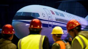 Ceremonia de entrega de un Boeing 737 MAX 8, en la fábrica de Boeing de Zhoushan, el 15 de diciembre de 2018.