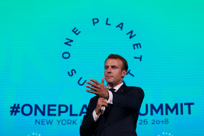 Emmanuel Macron katika kikao cha mazingira cha One Planet Summit New York, Septemba 26, 2018. Rais wa Ufaransa pia yupo Nairobi kwa kikao hicho.