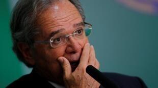 O ministro da Economia do Brasil, Paulo Guedes, no Palácio do Planalto, em Brasília, Brasil, em 16 de abril de 2019.