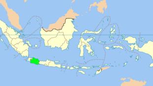 Purwakarta, một khu vực thuộc tỉnh Tây Java (màu xanh trong bản đồ), Indonesia.