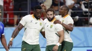 Les rugbymen sud-africains n'ont eu aucune difficulté pour dominer leurs adversaires namibiens, le 28 septembre 2019 à Toyota.