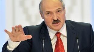 Le président biélorusse, Alexandre Loukachenko à Minsk, le 20 décembre 2010.