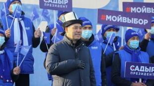 Sadyr Japarov, Premier ministre du Kirghizistan et candidat à la présidentielle pendant sa campagne à Bichkek, ce vendredi 8 janvier 2021.