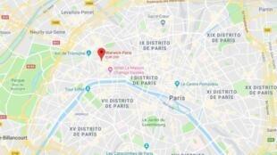 Localización del hotel Warwick de París, donde ocurrió el robo, según la denunciante.