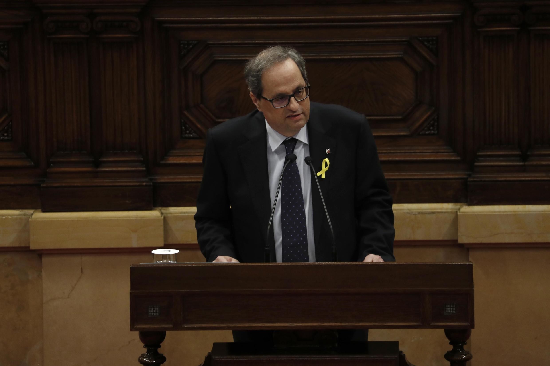 Quim Torra durante discurso durante o debate do Parlamento catalão.