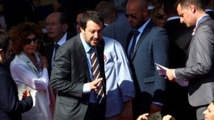 Tân bộ trưởng Nội Vụ Ý Matteo Salvini đến dự lễ duyệt binh 2/6/2018, Roma.