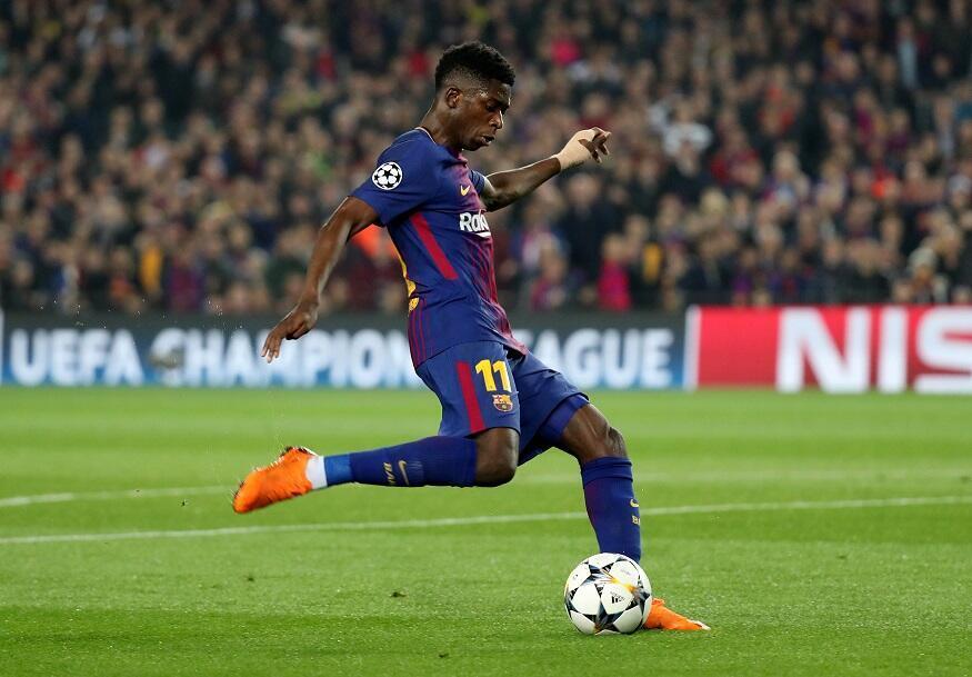 L'international français Ousmane Dembele a inscrit son premier but avec le maillot du FC Barcelone face à Chelsea, le 14 mars 2018.