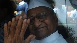 Anna Hazare, après son arrestation à New Dehli le 16 août 2011