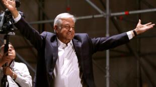 El presidente electo Andres Manuel Lopez Obrador, el primero de julio 2018.