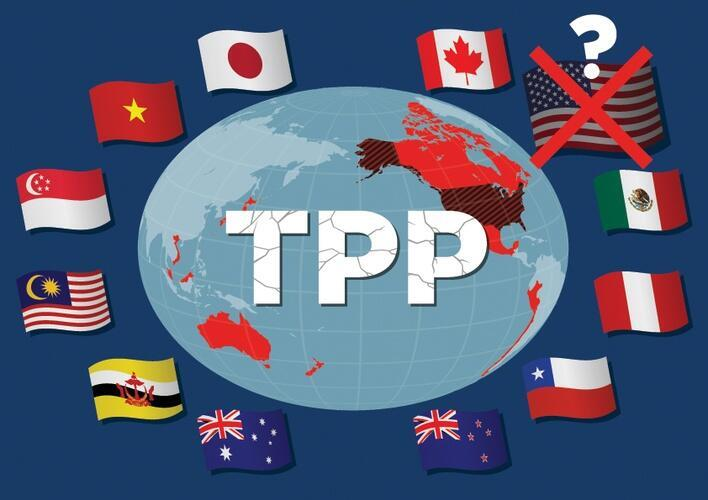 Imagen alegórica que muestra las banderas de los 11 países firmantes del TPP-11, sin Estados Unidos
