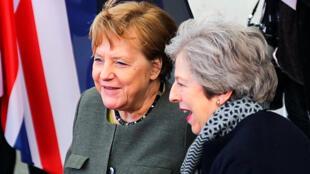 La première ministre britannique Theresa May s'est rendue à Berlin pour défendre auprès de la chancelière Angela Merkel un report du Brexit, le 9 avril 2019.