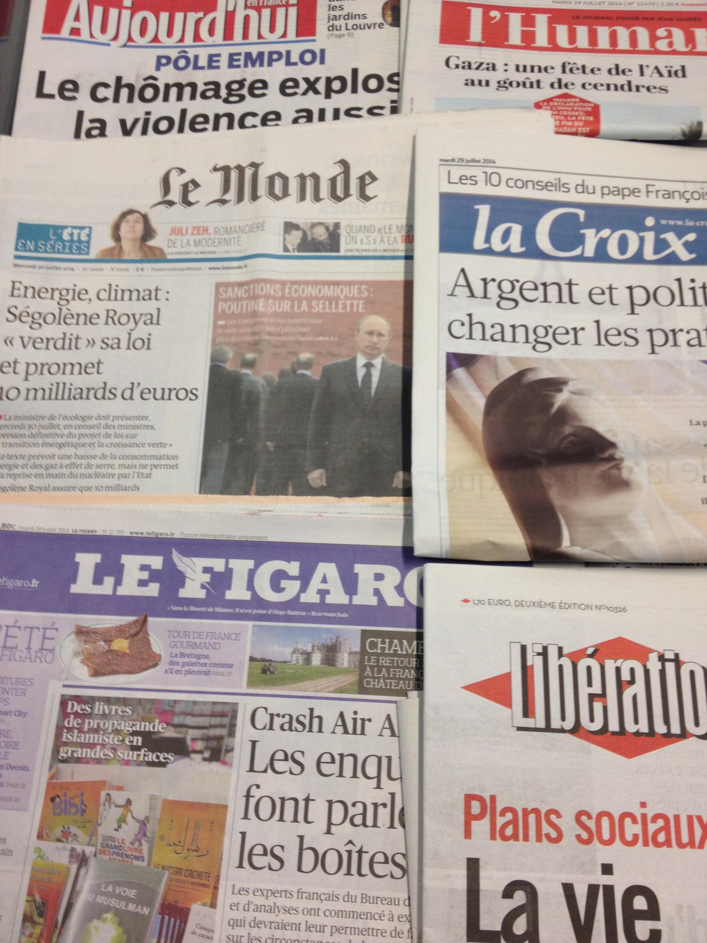 Primeiras páginas dos diários franceses de 29/7/2014