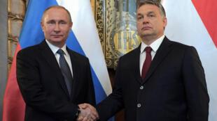 Vladimir Putin (esq.) e Viktor Orban em Budapeste a 2 de Fevereiro de 2017.