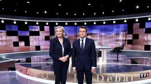 Marine Le Pen na Emmanuel Macron katika mdahalo mkubwa wa kabla ya duru ya pili ya uchaguzi, Jumatano, Mei 3, 2017.