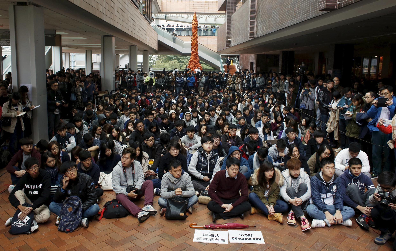 Sinh viên Đại học Hồng Kông bãi khóa ngày 20/01/2016.