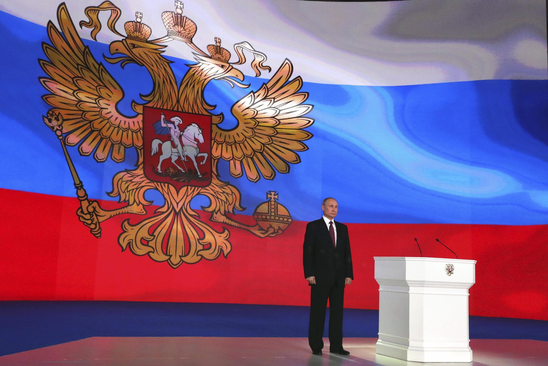 Tổng thống Nga Vladimir Putin trước Quốc Hội lưỡng viện tại Matxcơva, ngày 01/03/ 2018.